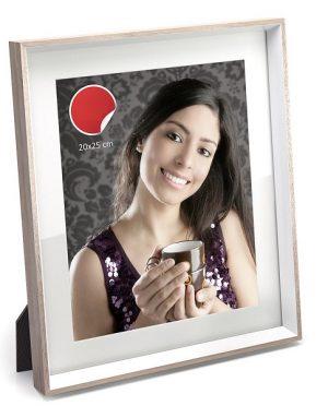 Porta foto bianco con bordo rovere 20×25