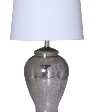 Lampada vetro antichizzato argento cappello bianco Camacho
