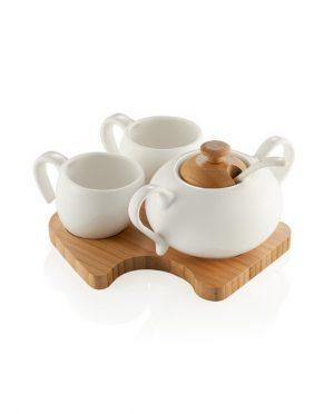 Set Caffè in Porcellana Bianca con vassoio in legno di Bamboo