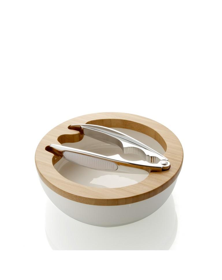 Elegante Set schiaccianoci con Ciotola Tonda in Porcellana con Vassoio in Bamboo 20 cm con Elegante Colore e di Alta qualit/à per Uso sulla Tua tavola