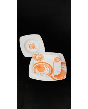 Servizio di piatti moderno quadrato arancione per 6 persone