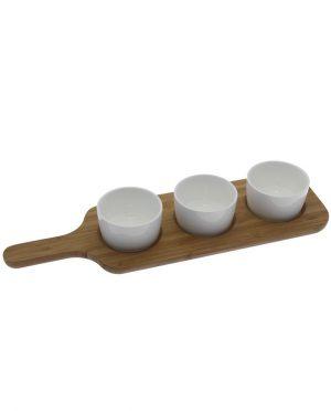 antipastiera set ciotole con base legno