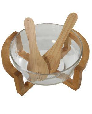 Insalatiera con supporto in bamboo e posate in bamboo