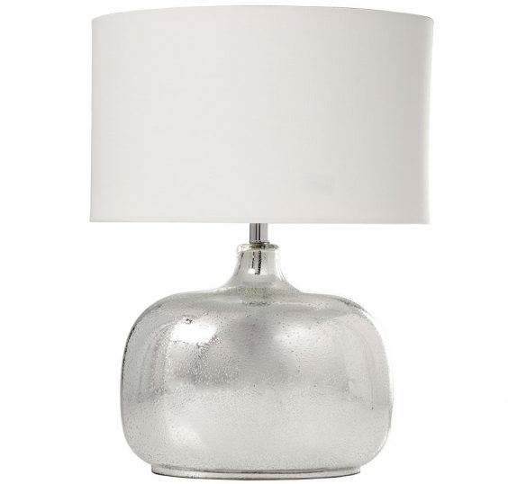 Lampada base vetro colore argento brillante