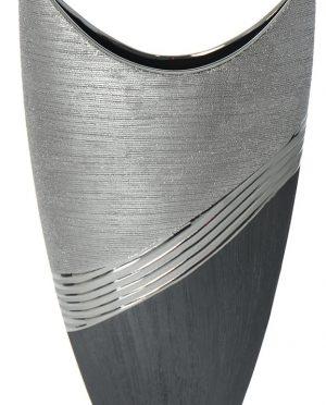 Vaso Ceramica Argento brillante e Nero