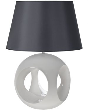 Lampada Camacho base ceramica bianca cappello grigio