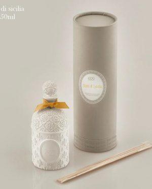 Profuma Ambiente Terra di Sicilia 150ml confezione regalo Porcellana ricamata