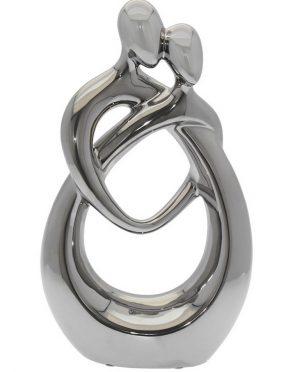 Statua abbraccio moderna cermica argento
