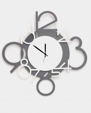 Orologio da parete con numeri grandi  bianco e grigio