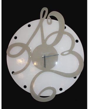 Orologio da parete in plexiglass bianco e tortora