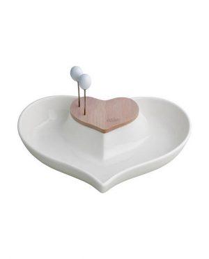 Antipastiera Cuore nel Cuore in Porcellana Bianca e Bamboo con 2 Forchettine in Inox