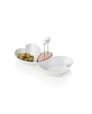 Antipastiera Cuor di Butterfly in Porcellana e Bamboo con 2 Forchettine Acciaio Inox