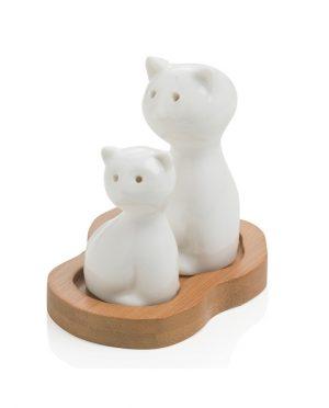 Sale e Pepe Gatto in Porcellana Bianca con base in Legno di Bamboo