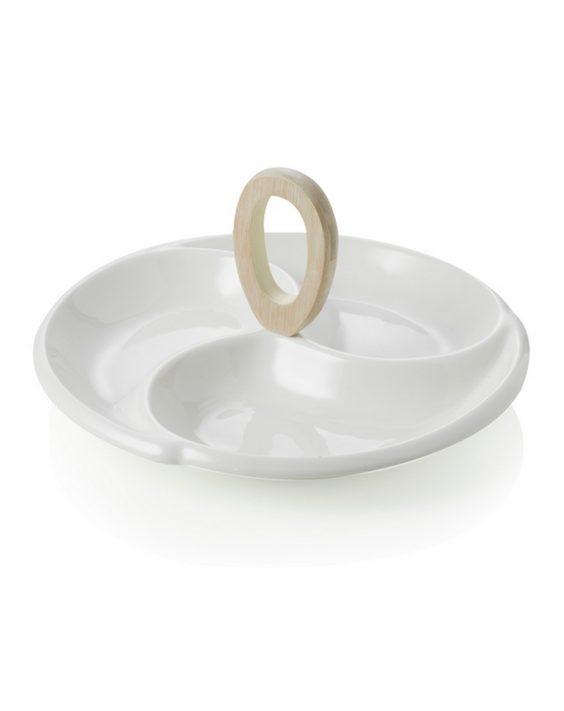 Antipastiera Frisbee in Porcellana Bianca e Bamboo Naturale