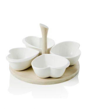 Antipastiera Quadrifoglio di Cuori in Porcellana Bianca con Supporto in Legno di Bamboo Naturale