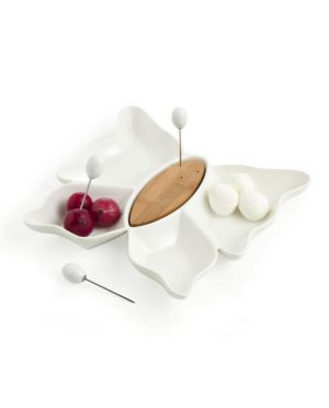 Antipastiera Butterfly in Porcellana Bianca e Bamboo con 3 Forchettine in Acciaio Inox