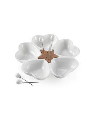 Antipastiera mille cuori in Porcellana Bianca e Bamboo con 5 forchettine in acciaio inox