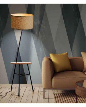 Lampada da terra con tavolo in legno