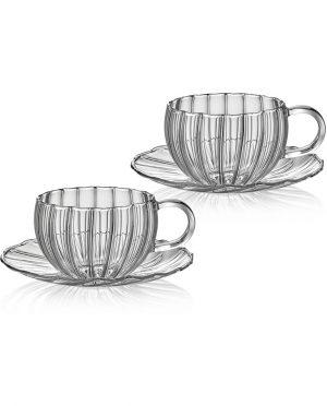 Coppia Tazze da Tè in Vetro Soffiato